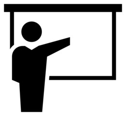 Man reporting at presentation icon