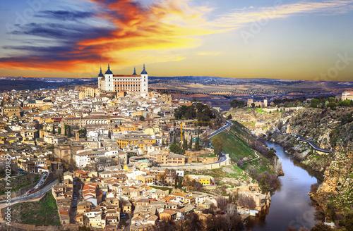 Staande foto Athene beautiful sunset over old Toledo, Spain