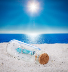 Flaschenpost, Strand, Sonne
