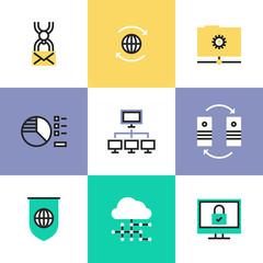 Global data technology pictogram icons set