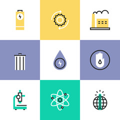 Energy conservation research pictogram icons set