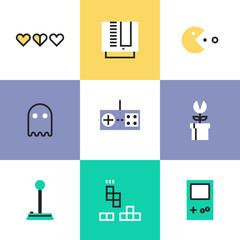 Retro gaming pictogram icons set