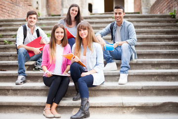 Group of students sitting on a staircase