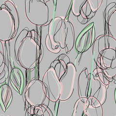 Tulip seamless pattern / Sketch of pink spring flowers