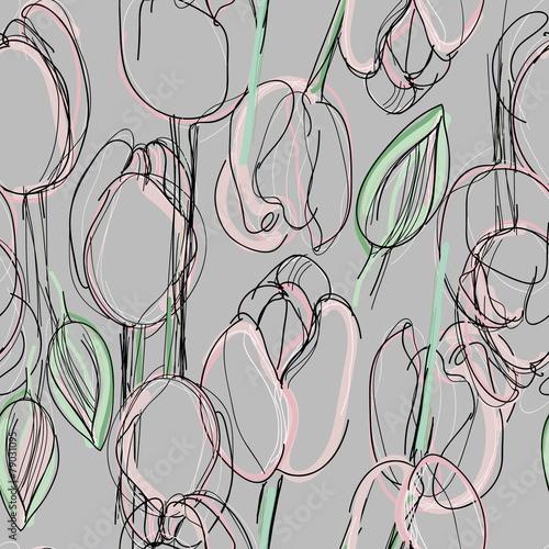 Fototapeta Tulip seamless pattern / Sketch of pink spring flowers