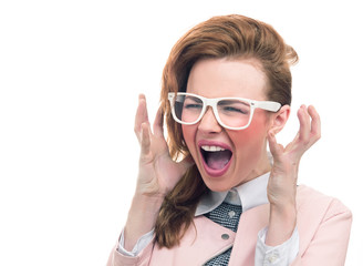 Woman shouting or screaming