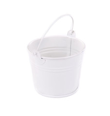 White bucket close up.
