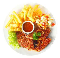 Aerial Shot of Fried Meat and Fries with Sauce