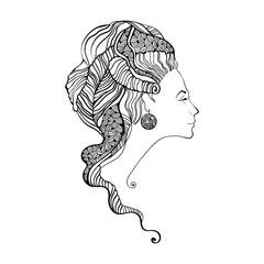 Beautiful woman head silhouette. Baroque style
