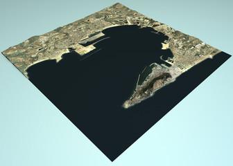 Gibilterra paese, vista satellitare, mappa, Spagna