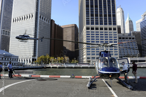 Tuinposter Helicopter New-York Heliport de Manhattan