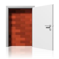 Mauer hinter einer Tür