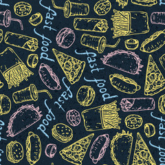 Fast Food. Color chalk pattern