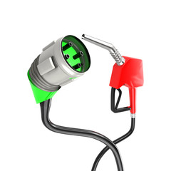 Electric Vehicle Charging Plug and Gas Nozzle
