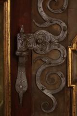 Vintage silver door, Prague