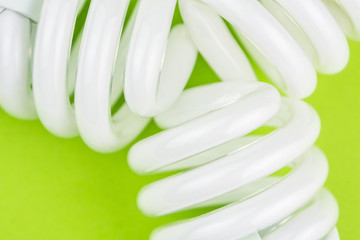 modern twisted lightbulbs on lime green backgound