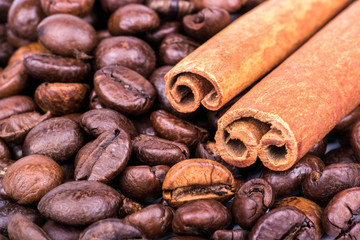 Cinnamon sticks with coffee beans