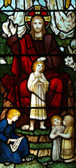 Jesus Christ blessing children (stained glass)
