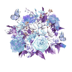 Blue Gentle Vintage Floral Greeting Card