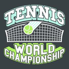 Tennis World Championship typography t-shirt graphics