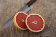 Grapefruits on wooden surface