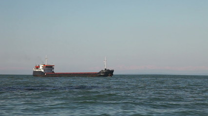 Bulk carrier ship sailing in the sea