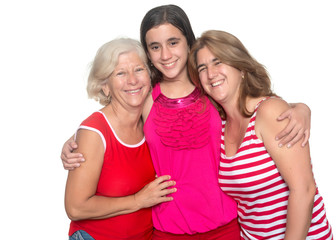 Family of hispanic women isolated on white
