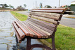 Bench detail in a boardwalk outdoors