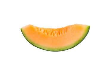 freshly cut melon on white background