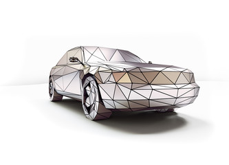 low-poly style car