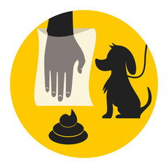 Clean up after your dog, abstract signal, vector