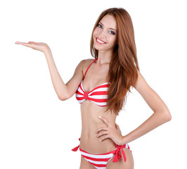 Beautiful young woman in swimsuit isolated on white
