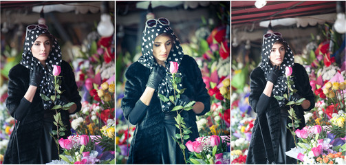 Beautiful brunette woman with gloves choosing flowers