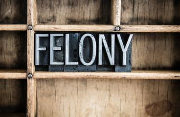 Felony Concept Metal Letterpress Word in Drawer