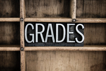 Grades Concept Metal Letterpress Word in Drawer