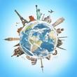 Leinwanddruck Bild - Travel the world monument concept