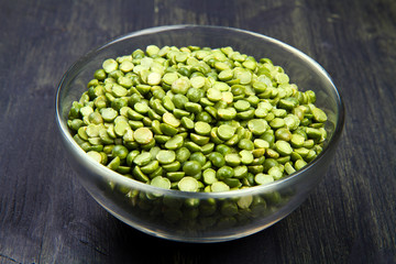 dried peas on glass bowl