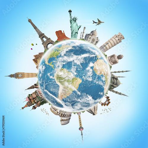 Leinwanddruck Bild Travel the world monument concept