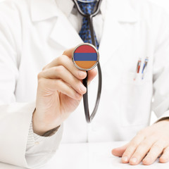 Doctor holding stethoscope with flag series - Armenia