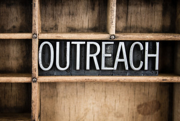 Outreach Concept Metal Letterpress Word in Drawer