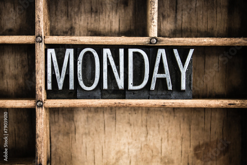 Monday Concept Metal Letterpress Word in Drawer