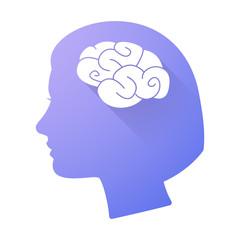 Female head icon with a brain