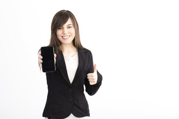 Businesswoman On A White Background showing mobile phone