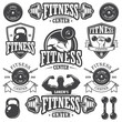 Set of monochrome fitness emblems - 79039499