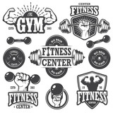 Second set of monochrome fitness emblems