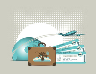 vector banner for air travel with an airplane and plane tickets