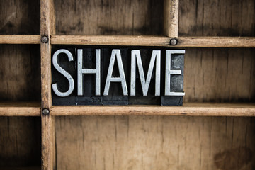 Shame Concept Metal Letterpress Word in Drawer