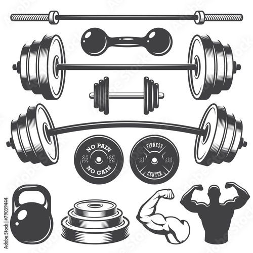 Set of vintage fitness designed elements - 79039444