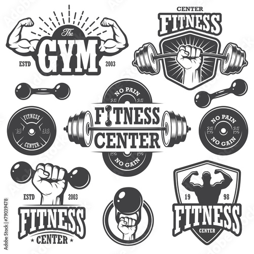 Second set of monochrome fitness emblems - 79039478