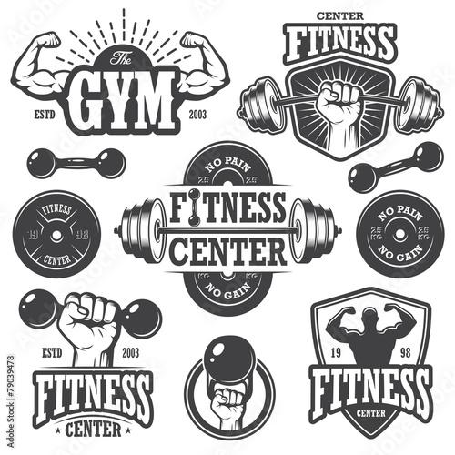Fototapeta Second set of monochrome fitness emblems